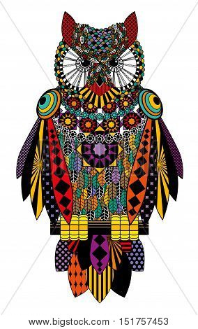 Colorful Owl. Raster Drawing On A White Background..