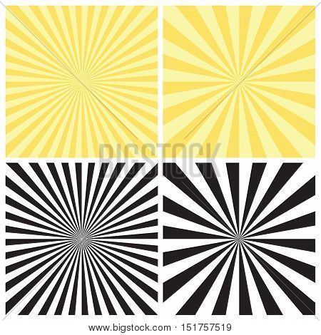 Set of abstract radial sunburst backgrounds. Retro style circular light rays scattered behind. Starburst pattern with radially placed beams. Vector eps8 illustration in black and yellow colors.
