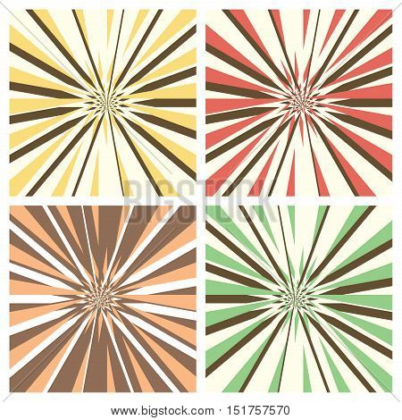 Set of abstract radial sunburst backgrounds. Retro style circular light rays scattered behind. Starburst pattern with radially placed beams. Vector eps8 illustration in different colors.