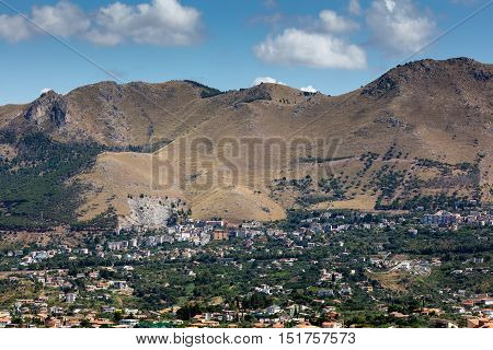 Suburbs of the Palermo Sicily from Monte Caputo