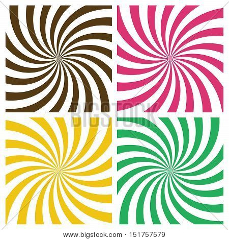 Striped radial vortex backgrounds set. Retro style color spiral stripes swirling around the center of the square. Pattern with swirly rays. Vector eps8 illustration in brown, pink, yellow and mint colors.