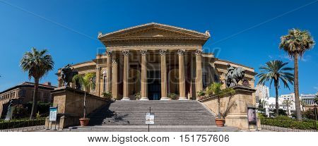 PALERMO ITALY - AUGUST 8 2016: Massimo Vittorio Emanuele Theater constructed in 1882-90 is the biggest in Italy and one of the largest of Europe renowned for its perfect acoustics.