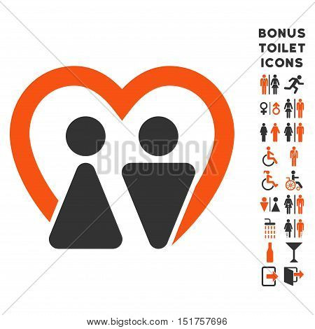 Marriage icon and bonus gentleman and female toilet symbols. Vector illustration style is flat iconic bicolor symbols, orange and gray colors, white background.
