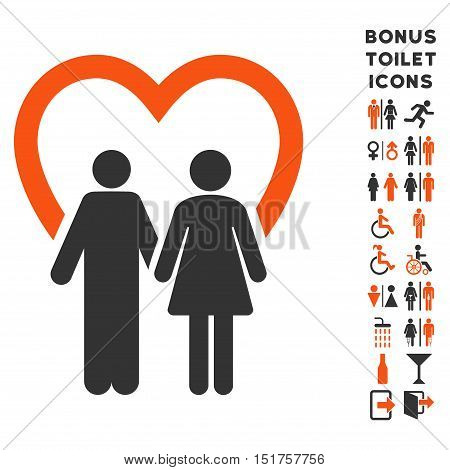 Marriage icon and bonus man and woman lavatory symbols. Vector illustration style is flat iconic bicolor symbols, orange and gray colors, white background.