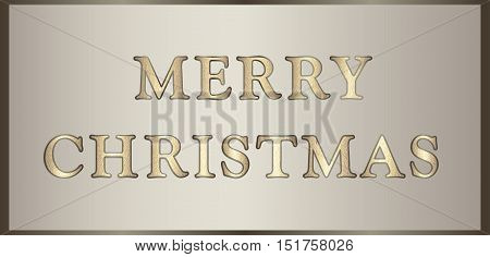 Vector illustration Merry Christmas in golden-brown tones with glitter text. Can be used for congratulations, invitations, posters, greeting cards, web design etc. Horizontal banner.
