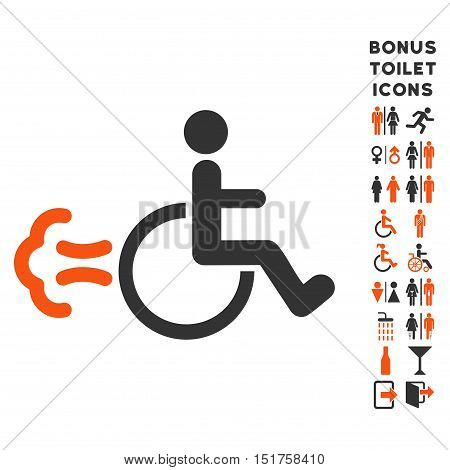 Patient Movement icon and bonus male and female WC symbols. Vector illustration style is flat iconic bicolor symbols, orange and gray colors, white background.