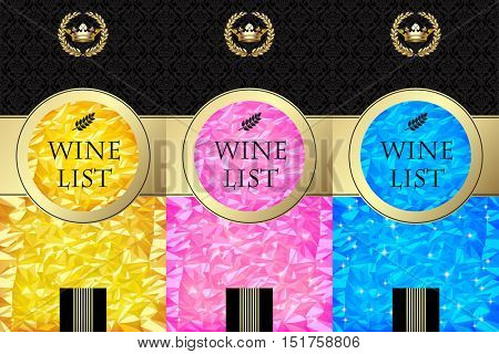Set of Wine lists template and labels with color bright foil texture background and abstract design elements. Vector illustration