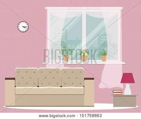 Living room in pink color. There is a sofa, a window, a lamp and other objects in the picture. There are pots with flowers on a windowsill. Vector flat illustration