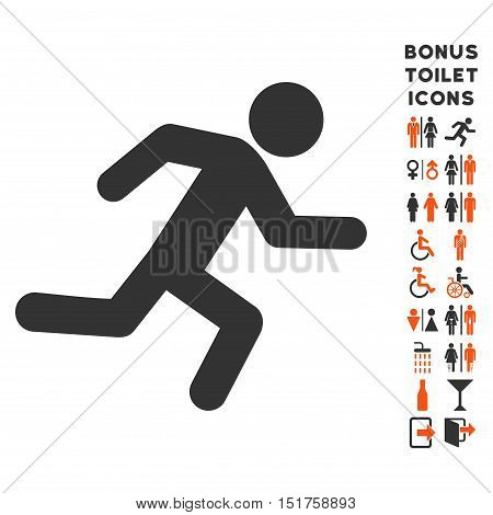 Running Man icon and bonus gentleman and lady restroom symbols. Vector illustration style is flat iconic bicolor symbols, orange and gray colors, white background.