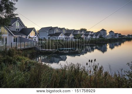 Stunning Dawn Landscape Image Of Clear Sky Over Calm Lake