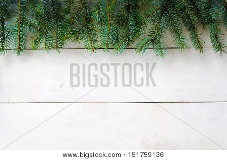 Christmas New Year white wooden background for design