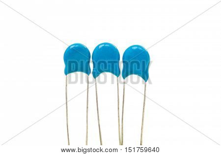 electronic element  blue capacitor on a white background