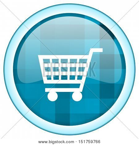 Blue circle vector  shopping cart icon. Round internet glossy button. Webdesign graphic element.