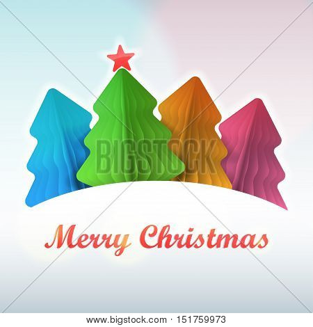 Several multi-colored Christmas trees over snow hill. Vector