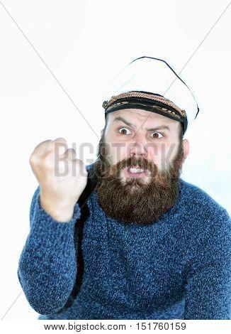 beard sailor man in a hat cap isolated