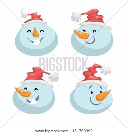 Cute snowmen in hat head emotion vector avatars set. Cartoon expression isolated face character. Simple gradient mascot heads.