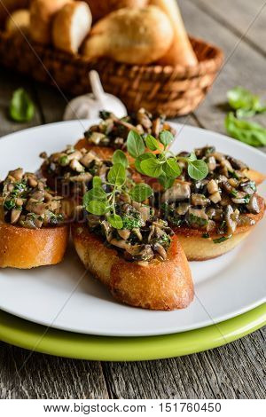Fried Baguette With Mushrooms, Garlic And Herbs