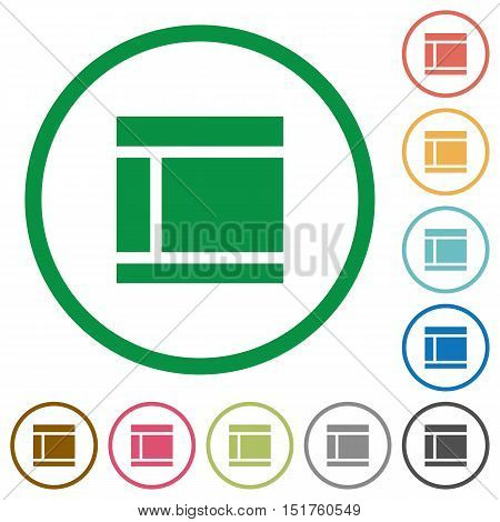 Set of Two columned web layout color round outlined flat icons on white background