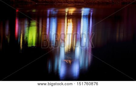 Colorful Lighting Reflection In Water