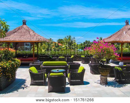 Nusa Dua, Bali, Indonesia - April 10, 2012: The rest zone and park in Ayodya Resort Bali at Nusa Dua, Bali, Indonesia