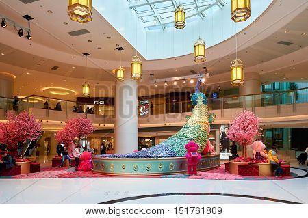 HONG KONG - JANUARY 26, 2016: inside the Elements shopping mall. Elements is a large shopping mall located on 1 Austin Road West, Tsim Sha Tsui, Kowloon, Hong Kong