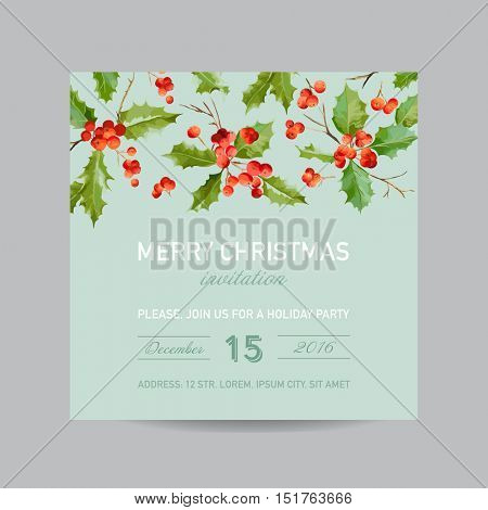 Vintage Holly Berry Invitation Card - Christmas Postcard - in Vector