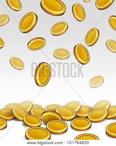 Fall coins on light background. Illustration vector.