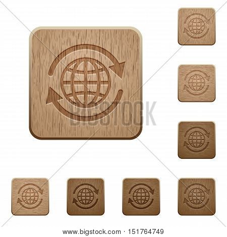 Set of carved wooden international buttons in 8 variations.