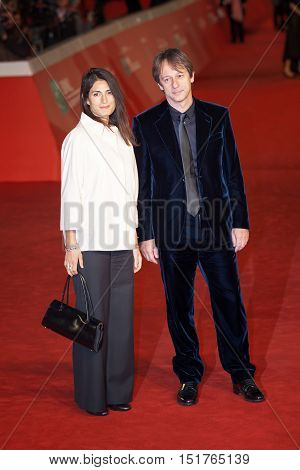 Rome Italy - October 13 2016: Rome Film Festival Eleventh Edition. Red carpet with Moonlight pictured pictured Virginia Raggi and Luca Bergamo
