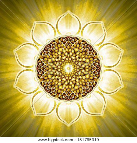 Illustration of a chakra symbol. Solar plexus chakra manipura.