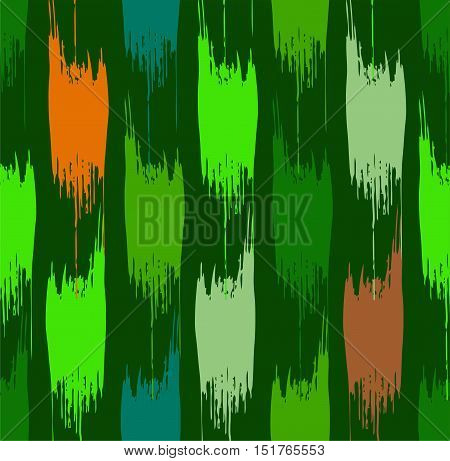 Abstract spots seamless background, green. Vector pattern of a ragged, green and orange-brown spots on a dark green background. Vertical decor.