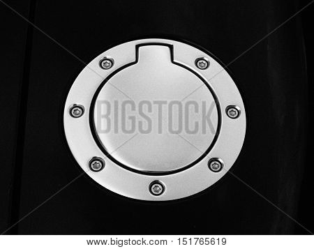 Close-up shot of a car filler cap.