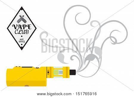 Vaporizer cigarette electronic vape device shop logo in flat style. Badge icon sign for vape shop club.