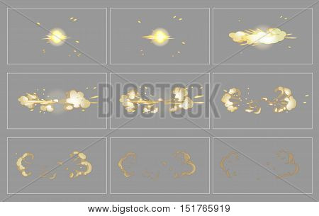 Fog side explosion special effect fx animation frames sprite sheet. Explosion frames for flash animation in games, video and cartoon.