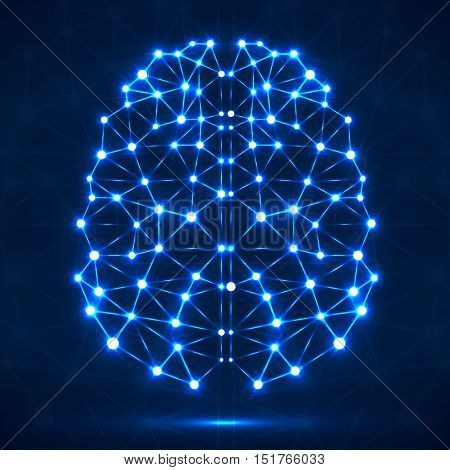 Abstract polygonal brain with glowing blue dots and lines, network connections