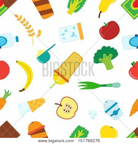 Pattern of cartoon food for smoothie with blender mixer. Ingridients for berry fruit cereal vegetable protein lactic cocktails. Vector illustration.