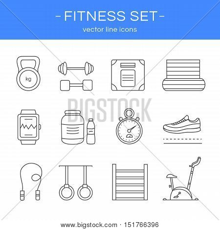 Set of line icons gym and fitness. Collection of sports elements: kettlebell, dumbbell, mat, sports nutrition, running shoes, jumping rope, stationary bike and other. Sport concept.