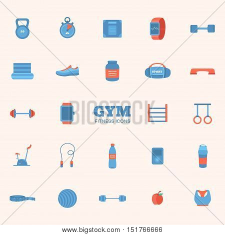 Set of sports icons. Collection gym and fitness elements: kettlebell, dumbbell, barbell, sports nutrition, fitball, running shoes, stationary bike, jump rope and others. Illustration of sports equipment.