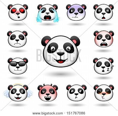 A set of emoticons. Panda. Isolated vector illustration on white background. Colored icons