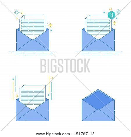 Set of envelopes and letters on white background. Correspondence, personal communication, email and spam concept design. Mail icons made in linear style. Vector illustration.