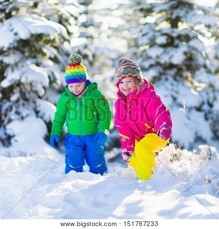 Children play in snowy forest. Toddler kids outdoors in winter. Friends playing in snow. Christmas vacation for family with young children. Little girl and boy in colorful jacket and knitted hat.