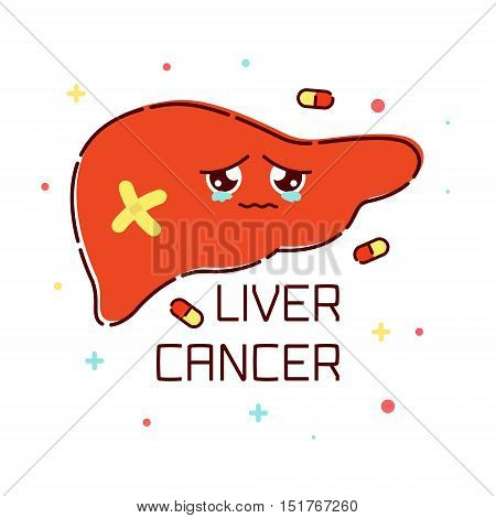 Liver cancer awareness poster with sad cartoon liver character on white background. Human body organs anatomy icon. Medical concept. Vector illustration.