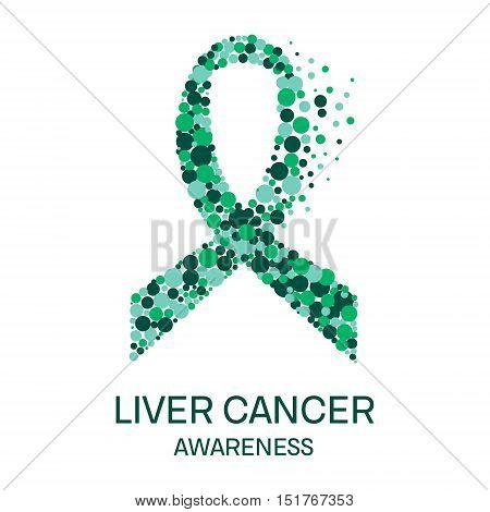 Liver cancer awareness poster design template. Emerald green ribbon made of dot on white background. Medical concept. Vector illustration.