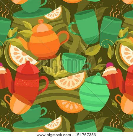Vector seamless pattern of tea. Background with cups, teapot, sugar bowl, tea leaf, cakes, lemon. Template for design: packaging, printing, banner, labels, tag, card, packet, flyer, cover, textile.
