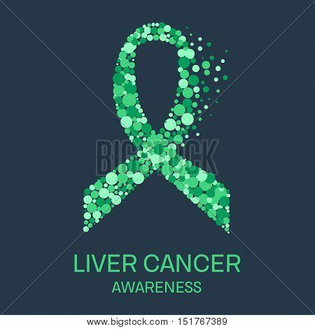 Liver cancer awareness poster design template. Emerald green ribbon made of dots on dark background. Medical concept. Vector illustration.