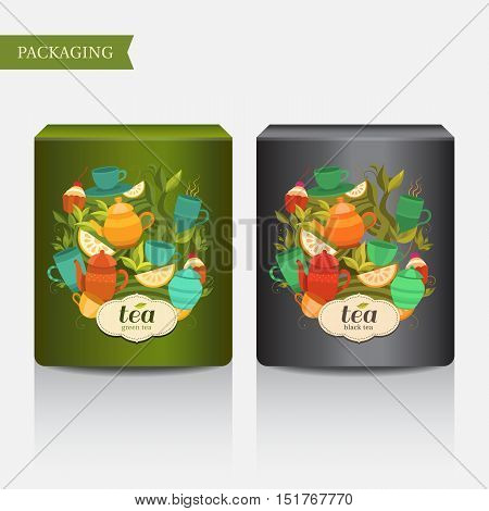 Template packaging of green and black tea. Vector background with cups, teapot, sugar bowl, tea leaf, cakes, lemon. Illustration for design: packaging, printing, banner, label, tag, card, packet, flyer.