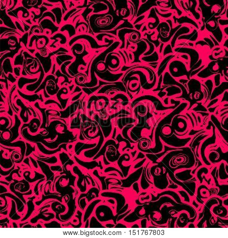 Seamless abstract black and red pattern consisting of a zigzags and curly vortices