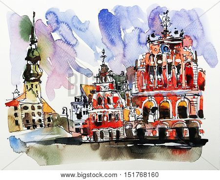watercolor sketch painting of old town Riga Latvia top view cityscape for card or travel book design