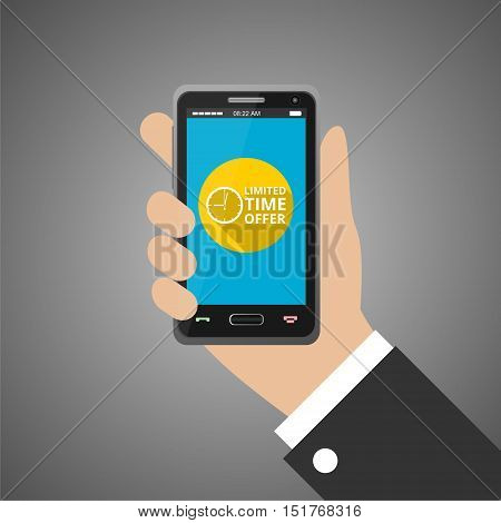 Hand holding smartphone with limited time offer icon