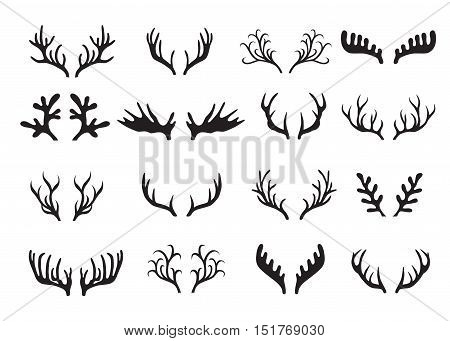 Deer antlers collection isolated on white background. Vector illustration.